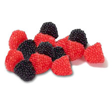 austiNuts Raspberries and Blackberries from Jelly Belly. Soft, chewy fruit flavored jells with candy seeds  Price per 1lb.