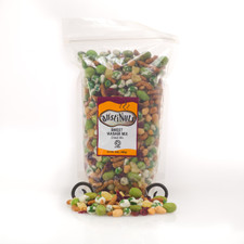 austiNuts perfect combination of Sweet & Spicy! Contains: Wasabi Peas, Wasabi Peanuts, Wasabi Seasoning, Honey Sesame Sticks, Sesame Seeds, Dried Pinapple, Dried Cranberries, Dried Peanuts
