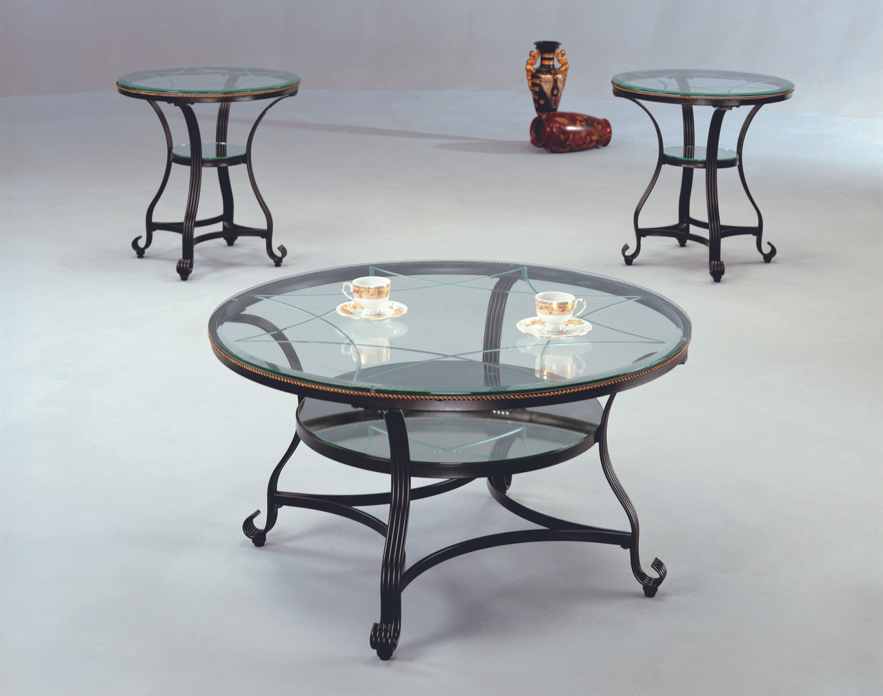 3 Pc Metal And Glass Coffee End Tables Clearinghouse Furniture