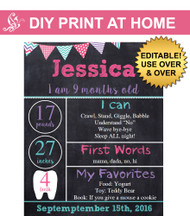Girls printable monthly chalkboard poster