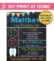 Boys monthly printable chalkboard poster