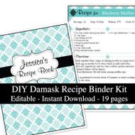 Blue Damask Printable Recipe Kit