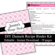 Pink Damask Printable Recipe Kit