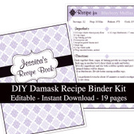 Purple Damask Printable Recipe Kit