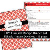 Red Damask Printable Recipe Kit