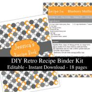 Retro Orange Printable Recipe Kit