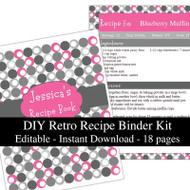 Retro Pink Printable Recipe Kit