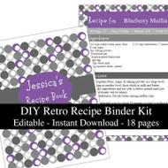 Retro Purple Printable Recipe Kit