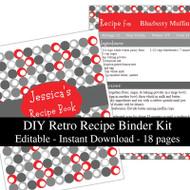 Retro Red Printable Recipe Kit