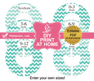 Aqua Chevron Printable Closet Dividers