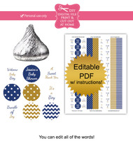 Navy & Gold Printable Candy Stickers