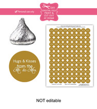 Gold hugs & kisses Printable Candy Stickers