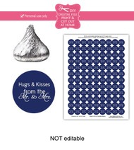 Navy hugs & kisses Printable Candy Stickers