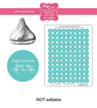 Turquoise hugs & kisses Printable Candy Stickers
