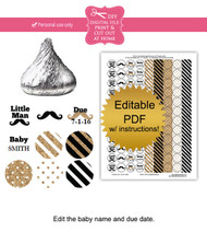 Little Man Gold printable baby shower stickers