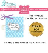 Floral Blue Quatrefoil Printable Lip Balm Labels