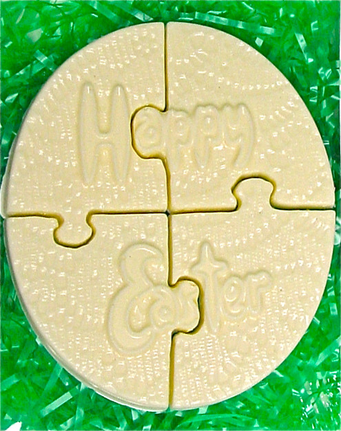 Happy Easter White Chocolate Puzzle, 6 inch x 5 inch, gift boxed w/grass