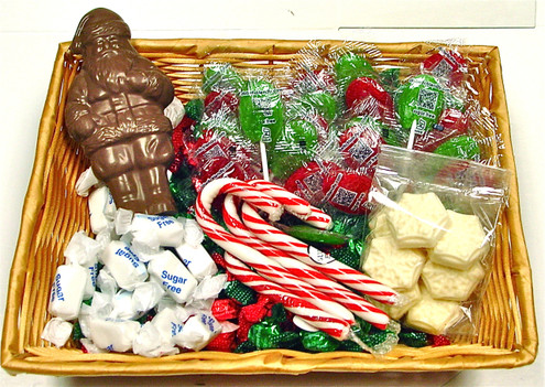 Sugar Free Christmas Gift Basket, Contains Candy, Chocolate Santa, Lollypops, Taffy & Candy Canes