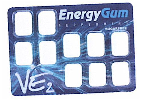 VE2 Peppermint, Sugar Free Caffeine/Energy Gum, 10 pcs per pack, Sweetened with Xylitol