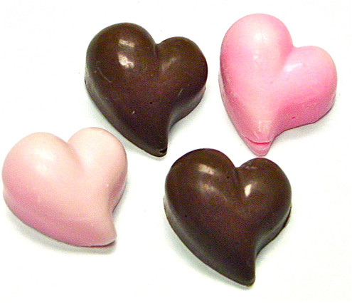 Sugar Free Chocolate Valentine's Day Curved Hearts .4 oz each, Set of 8 in clear acetate bag