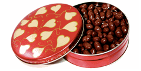 6 inch Gift Tin Filled with 18 oz of our Finest Sugar Free Milk Chocolate Nuts