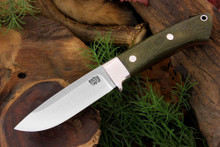 Bark River Loveless Drop Hunter Long Bolster - Green Canvas Micarta