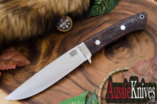 Bark River Knives Wilderness Explorer Cru-Wear Dark Purple & Gold Elder Burl