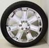 """New Set of 4 Chrome 22"""" With Chrome Inserts Wheels with Bridgestone Dueler Alenza Tires for GMC Trucks or SUVs"""