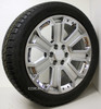 "New Set of 4 Hyper Silver 22"" With Chrome Inserts Wheels with Bridgestone Dueler Alenza Tires for Chevy Trucks or SUVs"