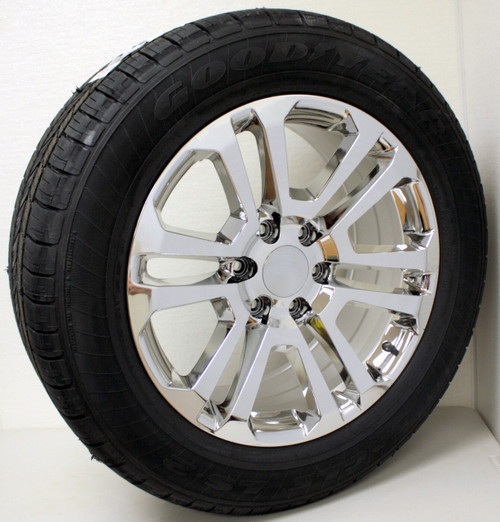 """New Set of 4 Chrome 20"""" Split Spoke Wheels with Goodyear Eagle LS2 Tires for Chevy Trucks or SUVs"""