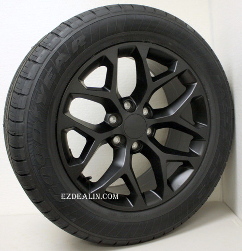 """New Set of 4 Satin Matte Black 20"""" Snowflake Wheels with Goodyear Eagle LS2 Tires for Chevy Trucks or SUVs"""