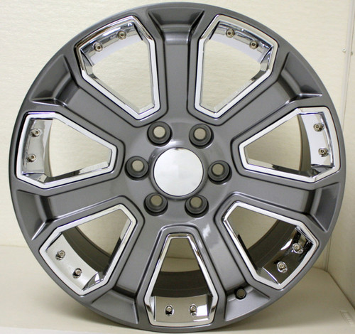 "New Set of 4 Gunmetal 22"" With Chrome Inserts Wheels for Chevy Silverado, Tahoe, Suburban"