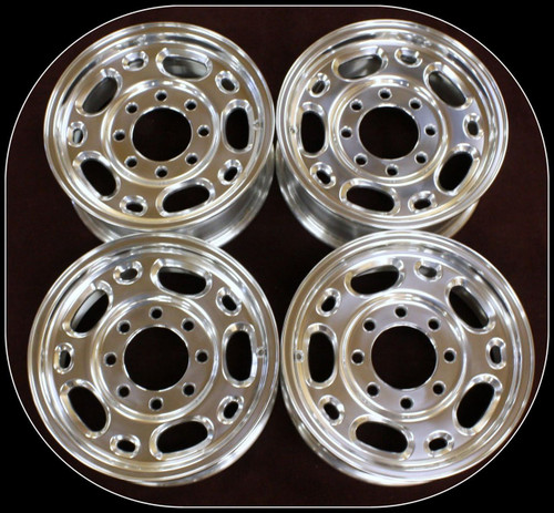 "New Set of 4 Polished 16"" 8 Lug 8-165 Wheels for 2001-2010 Chevy and GMC 2500, 3500, Express or Savana Van"