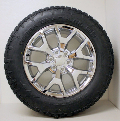 """New Set of 4 Chrome 20"""" Honeycomb Wheels with Nitto A/T Tires for Chevy Trucks or SUVs"""