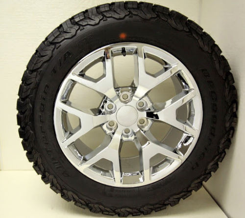 """New Set of 4 Chrome 20"""" Honeycomb Wheels with BFG KO2 A/T Tires for Chevy Trucks or SUVs"""