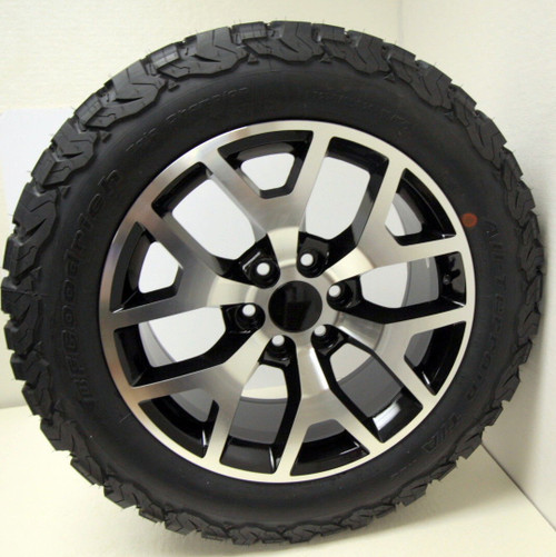 """New Set of 4 Black and Machine 20"""" Honeycomb Wheels with BFG KO2 A/T Tires for Chevy Trucks or SUVs"""
