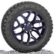 "New Set of Four Chevy Satin Black Snowflake 20"" Wheels With 285/55/20 Nitto M/T Tires"