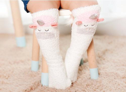 Fuzzy Unicorn Knee High Socks For Baby