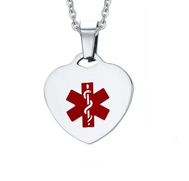 Medical alert id pendant stainless steel medical alert id heart pendant 0 reviews add your review see 3 more pictures mozeypictures Images