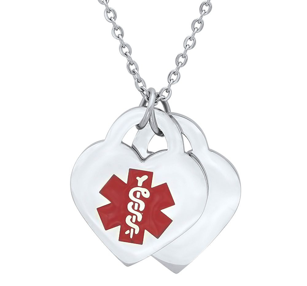 Medical alert id pendant stainless steel medical alert id double heart pendant necklace mozeypictures Images