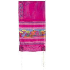 The Twelve Tribes Maroon Hand Painted Silk Tallit By Yair Emanuel