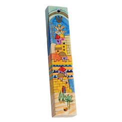 Small Painted Wooden Mezuzah Case By Yair Emanuel