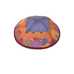 Jerusalem Multicolor Painted Silk Kippah By Yair Emanuel