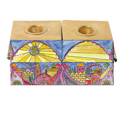 Jerusalem Painted Wooden Hanukkah & Shabbat Menorah By Yair Emanuel