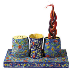 Oriental Painted Wooden Havdala Set By Yair Emanuel