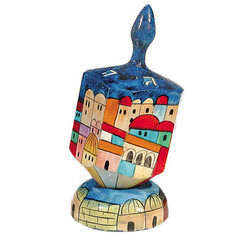 Jerusalem Medium Wooden Dreidel + Stand By Yair Emanuel