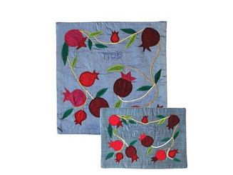 Pomegranates Blue Raw Silk Matzha & Afikoman Covers By Yair Emanuel