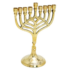 "Hanukkah Menorah 7"" Cast Copper By Judaicamore"
