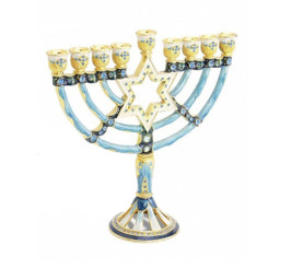 "Hanukkah Menorah Enamel coating 9.5"" Two-Sided By Judaicamore"