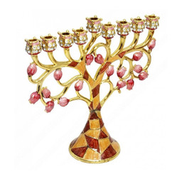 "Hanukkah Menorah Enamel coating 9.5"" By Judaicamore"